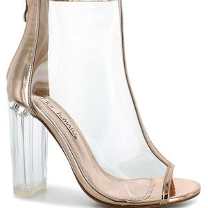 Shoes - Gold Clear Bootie Size 14